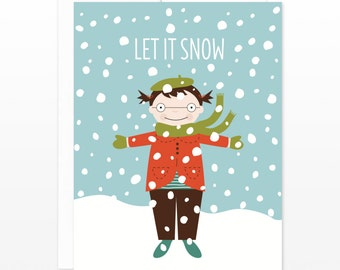 Christmas Card for Girls - Let It Snow Holiday Greeting Card, Card for Daughter, Card for Her, Card for Kids, Card for Children, Xmas