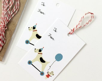 Birthday Gift Tag Set Toy Dog and Mouse Balloon  - Pack of 10 with Twine, birthday gift tags, gift tag set, child gift tags, party gift tags