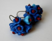 Bouquet of Blue Flowers cluster glass flower earrings