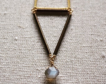 Large Triangle and Gray Moonstone necklace