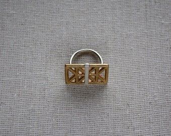 Truss Box ring in sterling and brass