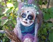 Sugar Skull, Halloween spirit, Serenity Spirit, Garden Keeper, Nature Goddess, Art doll,