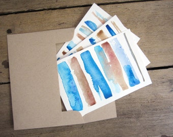 Original Watercolor Postcard/Notecards: Blue and Brown Abstract Paintings