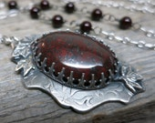 Blazing Autumn necklace ... recycled fine silver / gallery bezel / red bloodstone / red jasper