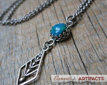 As Seen on the hit TV show Bones... Just Be Still necklace ... sterling silver openwork / antique silver / blue-green chrysocolla bezel