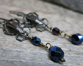 Trick or Treat - Beetle earrings ... antiqued beetles / hand forged earwires / iridescent fire polish glass