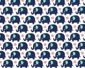 One yard - Mini Elephants in Sprout - Michael Miller cotton quilt fabric