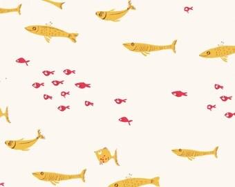 Mendocino Yellow Swim Class Heather Ross cotton quilt fabric - half yard, mendocino fabric, heather ross fabric