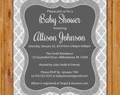 Grey Baby Shower Invite Quatrefoil Trellis Pattern Boy or Girl  Shower Invitation Gender Neutral Printable 5x7 Digital JPG File (532)