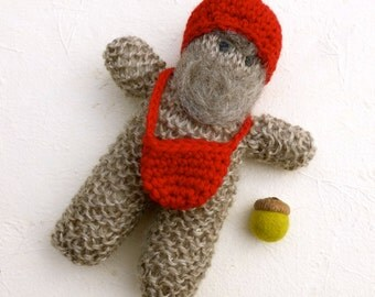 Knit gnome doll Waldorf inspired wool acorn