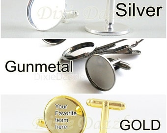 20 pieces cuff link bases, cufflink supplies, silver cufflinks, gold cuff links, gunmetal cuff links, DIY graduation, wedding, groomsmen
