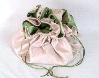 Dollar Dance Bag, Satin Bridal  Reticule,  Champagne and Sage Green,   No Pockets, Super Sized