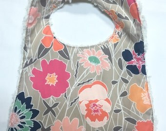 Baby Girl's Bib in Peach, Navy and Mint Floral Fabric- Baby Girl Gift- Baby Girl