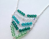 Emerald City Swarovski Crystal Chevron Necklace In Sterling Silver