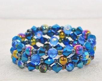 Blue Memory Wire Bracelet Blue Rhapsody- Blue Bracelet - Crystal Memory Wire Bracelet - Gift for Wife
