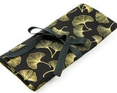 SHORT Knitting Needle Organizer Case - Gingko - 24 black pockets for circular, double pointed, interchangeable or travel