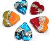 Handmade Glass Lampwork  Hearts, Handmade Lampwork,  Glass Heart Beads,