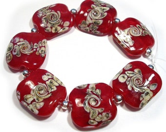 Handmade Glass Lampwork Beads, Red Beads,  Squeezed Beads,  Red Twists, Red Focal Beads