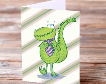 Father's Day Card Crocodile Dad striped tie Card for dad