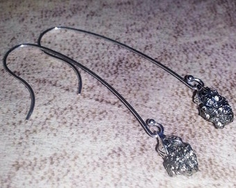 Pyrite Earwires Earrings sterling silver