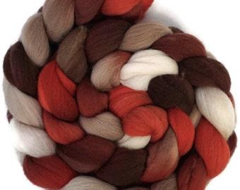 Handpainted Targhee Wool Roving - 4 oz. CHERRY COLA - Spinning Fiber