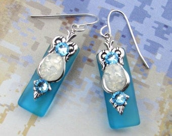 Caribbean Aqua Stained Glass Earrings with Glass Opal and Aquamarine Crystal Accents