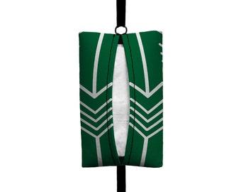 Auto Sneeze - Arrows - Visor Tissue Case/Cozy - Car Accessory Automobile Dark Green White