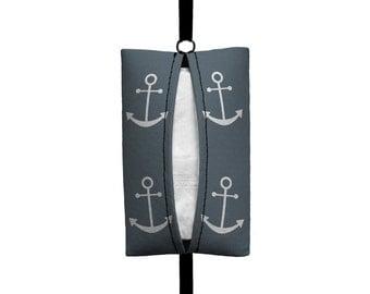 Auto Sneeze - Anchors - Visor Tissue Case/Cozy - Car Accessory Automobile Dark Grey White Nautical Sailor Navy Boat Sailing