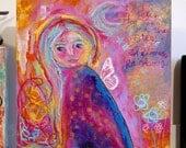 she makes rainbows, rainbow, fairy, moon, star, painting, mixed media, original