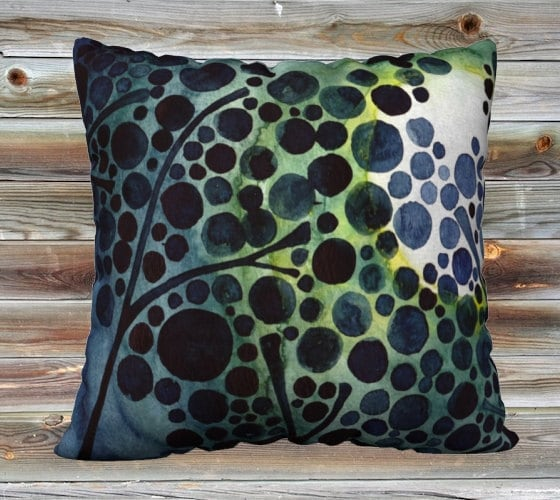 Full Moon Watercolour Art Throw Pillow Cover Summer Pillow Case 18x18""
