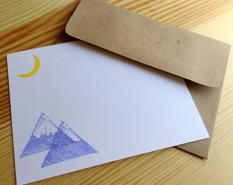 Moonlit Mountains - Mountain Stationery - Purple Mountains Note Cards - Hand Printed Flat Notes - Set of 6