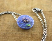 Button Necklace - Periwinkle Flower