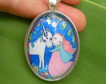 Unicorn Necklace red Hair  Princess Unicorn Jewelry Jewellery Unicorn Art Gift for Little Girl Gift for Friend Whimsical Folk Art Pendant