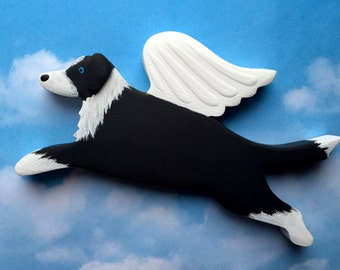 Border Collie Angel Dog Rustic Wood Decoration