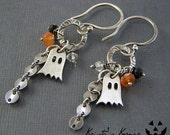 Sterling Silver Ghost and Gemstone Halloween Earrings