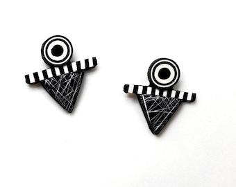 Earrings black white polymer sterling silver posts bullseye stripes lines  little studs