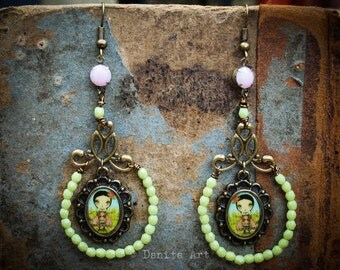 Sweet Peas - A pair of whimsical earrings that will match your favorite outfit with unique jewelry designed by Danita Art