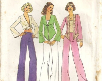 Simplicity 6971 Misses Tie Front Top, Shirt, Pants 70s Vintage Sewing Pattern Size 12 Bust 34 Retro Wide Legs