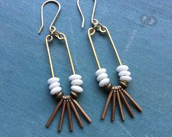 Modern Beaded Drop Earrings | Brass Earrings