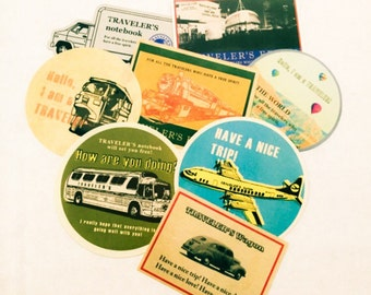 8pcs VACATION TRAVEL STICKERS Vintage Designs Plane Bus Ferry Car Train