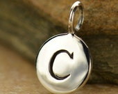alphabet charm - Sterling Silver letter round initial charms - stamped letter charm
