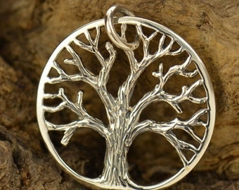 Sterling Silver Family Tree of Life pendant with lots of texture