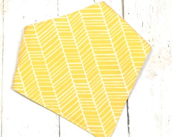 Bandana Bib, Drooler Bib, Baby Bib, Bandana Baby Bib, Bibdana for Girl or Boy - Gender Neutral Baby Bib  -  SUNSHINE YELLOW HERRINGBONE