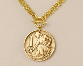 Czechoslovakia Coin Necklace 1962 Woman Planting Tree
