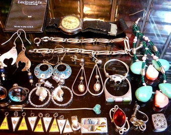 Huge Sterling Silver Wearable Scrap Jewelry lot 50's to 80's earrings bracelets rings diamond