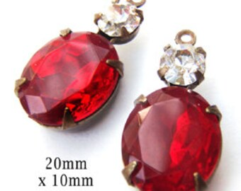 Ruby Red Vintage Glass Beads, Brass Settings, 20mm x 12mm, 12x10mm Oval, Choose Your Color, Glass Gems or Jewels, Rhinestone Beads, One Pair
