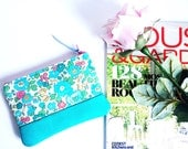 Hydrangea Blossoms Leather Change Wallet, Small Fabric Leather Wallet, Leather Coin Purse, 144collection