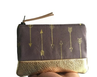 Arrows Gold Metallic Grey Leather Pouch, Gold Zipper Pouch, Leather Change Purse, Zipper Wallet, Change Wallet, Small Coin Wallet