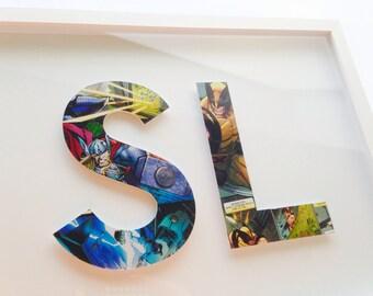 2 letters- CUSTOM superhero alphabet letters