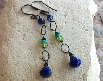 Multi GEMSTONE Earrings, blue and green gemstone jewelry, Lapis, Peridot, Turquoise, Blue Kyanite, Chrome Diopside linear earrings